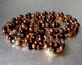 1950s Beaded Necklace Vintage Costume Jewelry Multi 3 Strand Brown Amber Gold Bronze Givre Glass Beads AB Crystals Decorative Cluster Clasp