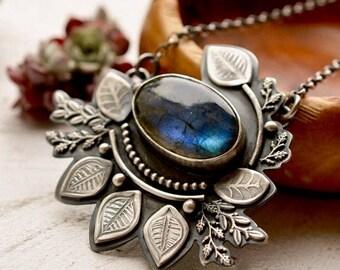 Summer Sale Silver Botanical Necklace, Labradorite Pendant, Gardeners Gift, Modern Rustic Necklace, Modern Artisan Jewelry, Art Necklace