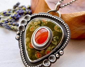 Summer Sale Stone on Stone Pendant, Rainforest Jasper Necklace, Carnelian Necklace, Unique Handmade Silver Jewelry, Modern Metalwork