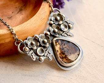 Montana Agate Necklace, Botanical Silver Jewelry, Flower Necklace, Statement Necklace, One of a Kind Artisan Jewelry, Eye Catching Metalwork