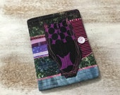 COMPOSITION Notebook Book Cover - quilted fabric - zipper hand dyed fabric collage