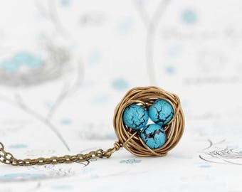 Gift For Mom, Wire Bird Nest Pendant, Turquoise Bead Eggs, Gift for New Mom, Push Present, Grandmother Gift, Woodland Necklace