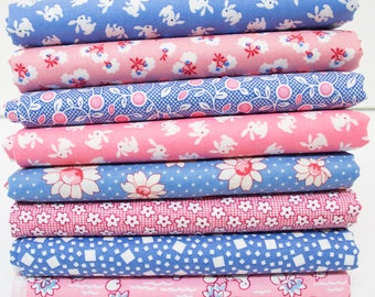 1930's Reproduction Feedsack Fabric Bundle - Pink & Blue