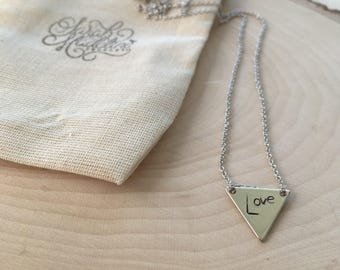 Love Triangle Silver Plate Necklace