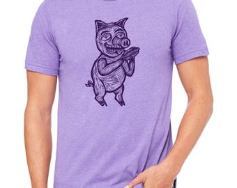 Cannibal Cousin  Hand Carved   Woodblock Printed T Shirt