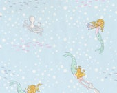 "Michael Miller Fabrics, ""Out to Sea"", Mermaid Play in Soft blue, yard"