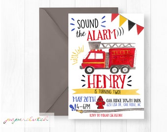 Firetruck Birthday Invitation - Sound the Alarm - Fireman Party - Red, black, & yellow - Fire Engine -  Fireman Invitation Digital or Print