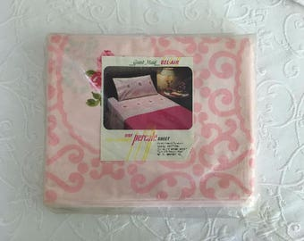 Vintage Cotton TWIN SHEET Pink Rose 1970s Flat Grant Maid Bel Air in Package