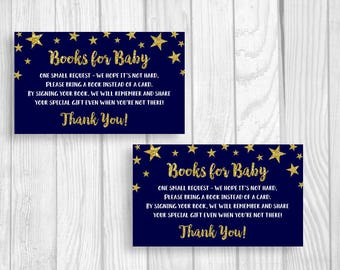 Printable Baby Shower Book Request Cards - Sheet of 3x5 Books for Baby Cards - Twinkle Twinkle Little Star - Midnight Blue and Gold Glitter
