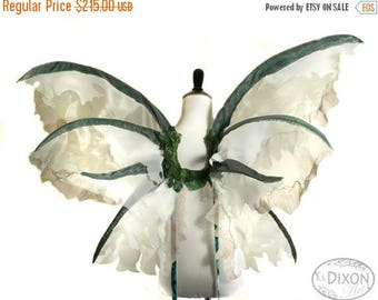 Christmas in July SALE Spring - One of a Kind - Large Fairy Wings in Green, Tan and White