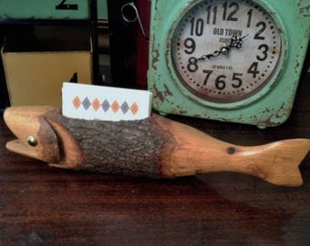 Wooden FISH Business Card Holder Solid Hand Carved Wood Fish Unique One of a Kind Desk Accessory Holder or Paper Weight