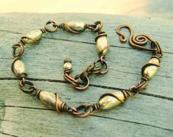Antiqued Silver and Copper Wire Wrapped Bracelet - adjustable mixed metals bracelet with a bead dangle