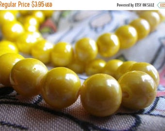 SALE 20% Off Vintage Opaque Yellow Glass Luster Beads 8mm Rounds 50 Pcs
