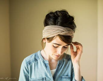 Woven Headwrap in Cappuccino || Garlands of Grace STRETCH headband headcovering h