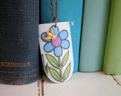 Retro Garden Funky Flower Hand Cut China Necklace - Broken China Jewelry - Vintage China Tea Cup Pendant + Brass Honey Bee on a Long Chain