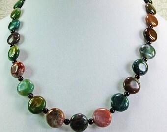Lovely Lavender, Green, Brown Fancy Jasper Stone Beaded Necklace