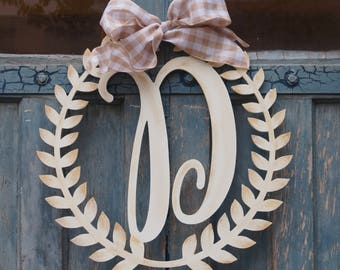 Laurel Wreath Monogram Doorhanger - farmhouse - outdoor - spring - mother