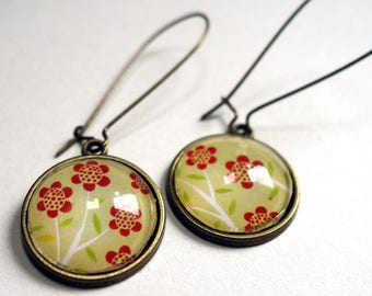 Pretty flower earrings and round BO188