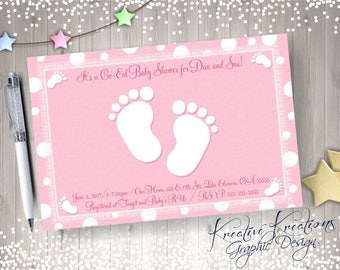 Footprints Baby Shower invitation, Footprints Shower Invitation, Footprints Baby Shower, Baby Feet Invitation, Digital Design, Printable
