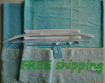 FREE Ship DIY Bra Kit Aqua Tie  Dye & White Dots by Merckwaerdigh