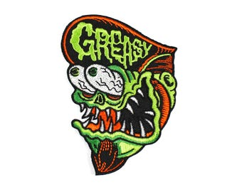 Greasy Monster Patch - Lowbrow Art, Weird Greaser Rat Fink Barber Monster Embroidered Patch