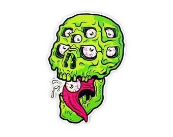 "Eyeball Slurpin' Skull Vinyl Sticker - 4"" Diecut Weatherproof Sticker Indoor/Outdoor"