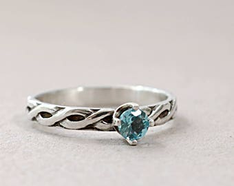 Blue Topaz ring, Sterling Silver, rope pattern, sky blue gemstone, stacking ring, Birthstone jewelry