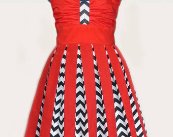 Twin peaks Chevrons and Red inspired dress, Custom Size