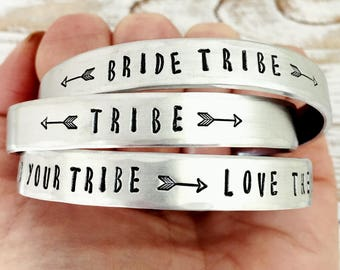 Tribe Jewelry - Bracelet - Choose from Bride Tribe, Tribe, Find Your Tribe Love Them Hard - Arrow - Custom - Best Friend or Bridesmaid Gift