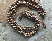 Big bold chunky picture jasper and crystal six strand necklace