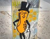 Mr Peanut Man Graffiti Painting on Canvas Pop Art Style Original Artwork Stencil Urban Street Art Vintage Kitchen