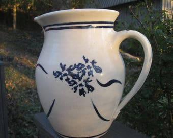 Large Vintage Pottery/ Stoneware Pitcher - Blue and White Hand-Thrown Vase - Farmhouse Style