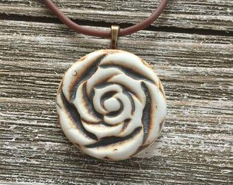 Rustic Rose Porcelain Pendant