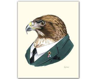 Red-tailed Hawk art print 11x14