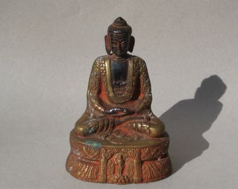 Vintage Brass Buddha Statue Highly Decorated Siddhartha Gautama Buddha Seated Brass Figurine Buddhism Middle Way