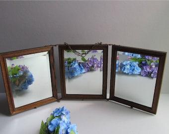 Vintage Tri Fold Three Way Mirror Table Top Or Hanging Beveled