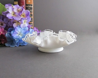 Vintage Silver Crest Milk Glass Dish, Small Milk Glass Dish, Candy Dish, Fancy Soap Dish, Wedding Candy Bar Dish