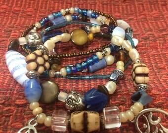 Boho blue and brown layered bracelets