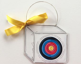 Archery Ornament - Archery Team Ornament - Target Ornament - personalized painted - archer gift - nasp - bullseye - wood