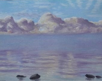 "Original pastel painting ""Daybreak on Amherst Island Number Eight"" 8"" x 11"" neither mat nor frame are included"