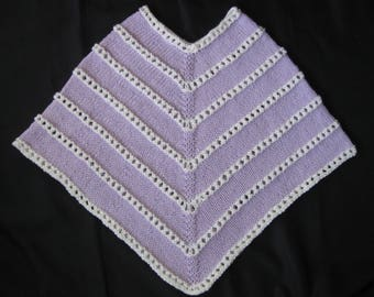 Hand Knit Lavender and White Child Poncho