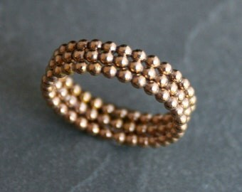 Set of Three 14k Gold Fill Bead Rings, 14 Karat Gold Filled Stacking Rings, Dot Ring Bead Beaded Ring Spacer Gold-Fill Stackable Set 3 Rings