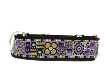 Wide 1 1/2 inch Adjustable Buckle or Martingale Dog Collar in Chorley