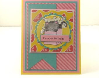 Birthday Card, Cat in Bag Birthday Card, Pink, Yellow, Mint Green, It's Your Birthday, Handmade Birthday Card