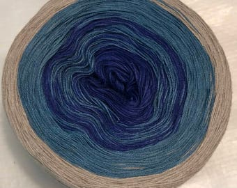 3-ply gradient tied cotton 100g light fingering Blue Stone v.1
