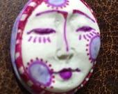 Handmade clay face  goddess  woman doll head  jewelry craft supplies  cabochon  mosaics dolls jewelry craft  spirit square