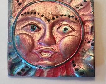 Handmade clay face  sun head square  cabochon mosaic tile woman lady craft supplies  handmade cabochon  mosaics dolls jewelry craft parts