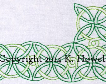 Celtic Knot Hand Embroidery Pattern, Large, Corner, Border, Frame, Celtic, Irish, Knot, Braid, Edge, PDF