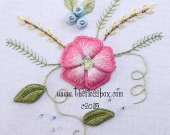 Pink Flower Stumpwork Embroidery Pattern and Kit