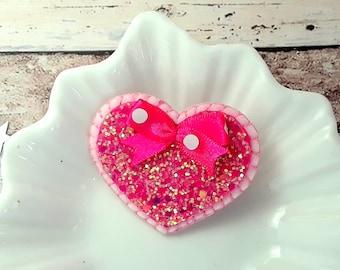 Pink glitter Heart hair clip, Handmade Irridescent Pink heart hair barrette, Heart hair slide, single/pairs
